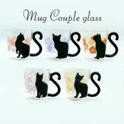 ARTHA Glass Mag Couple Cat Chrysanthemum